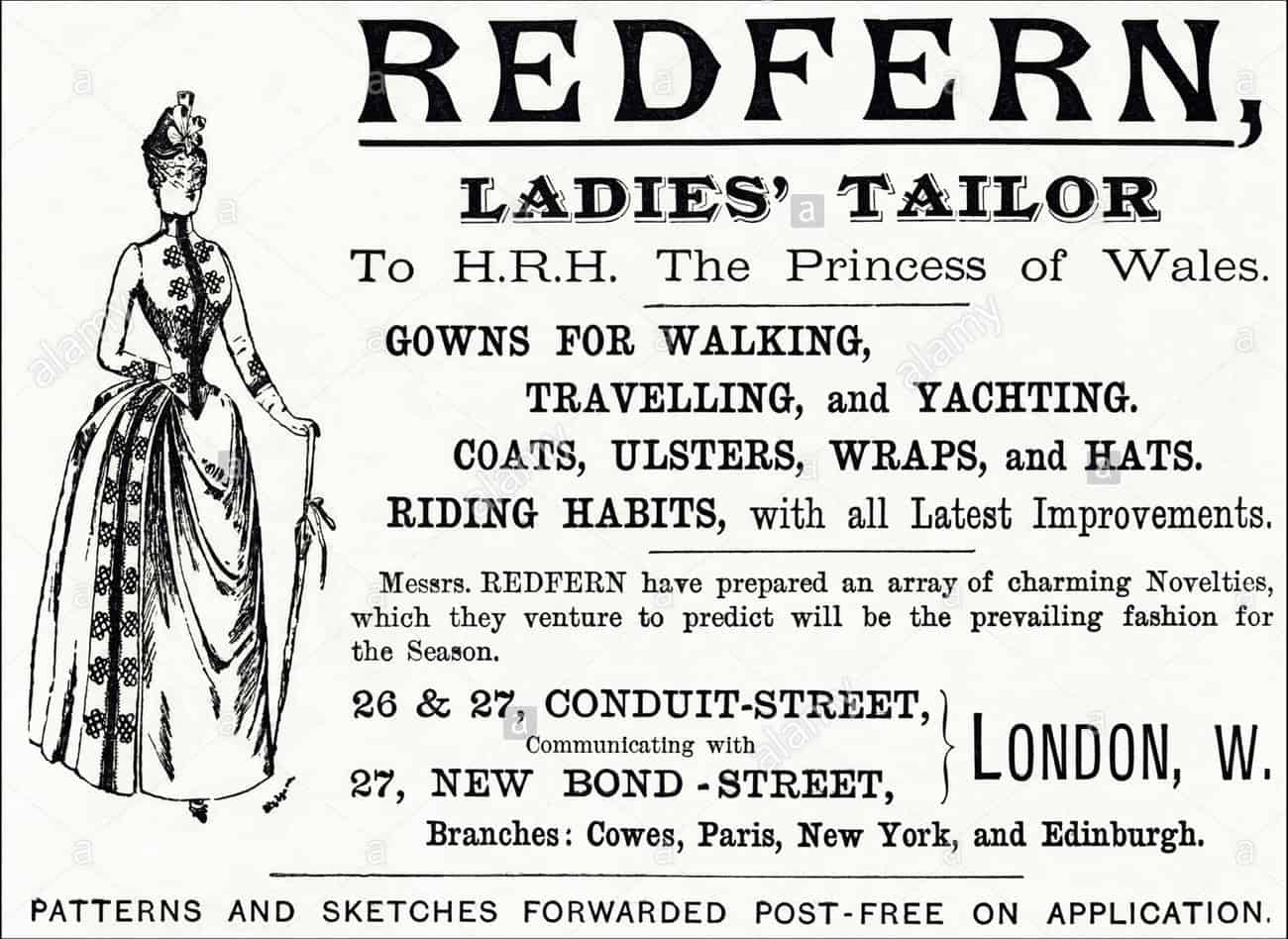 ad for Redfern suits, Conduit Street, Bond Street, Mayfair, Ballgowns to Bumsters Tour, Fashion Tours London, fashion walks and shopping tours for fashionistas