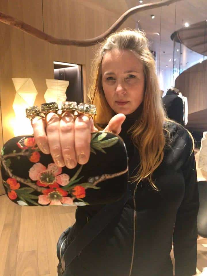 clutch from Alexander McQueen, in personal styling session by Fashion Tours London on Bond Street, Mayfair