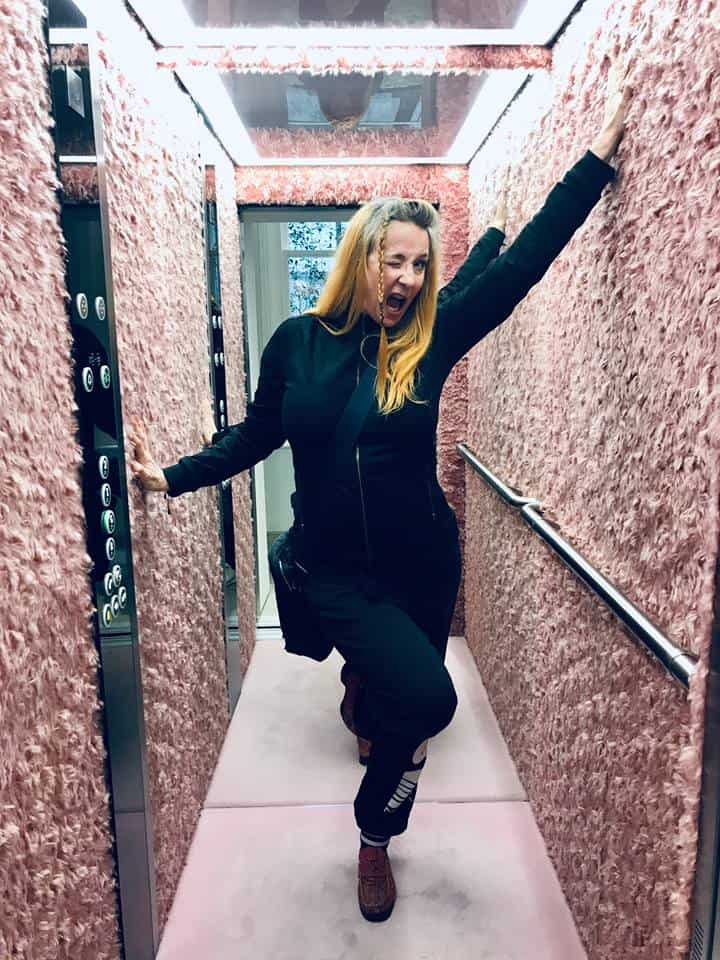 the store lift of fashion designer Stella McCartney, from personal styling session by Fashion Tours London on Bond Street, Mayfair