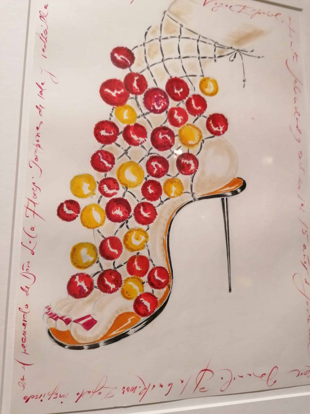 drawing by fashion designer Manolo Blahnik, on display at Wallace Collection; Blahnik shop in Burlington Arcade, Mayfair, Unique Boutiques Tour, Fashion Tours London, fashion walks and shopping tours for fashionistas