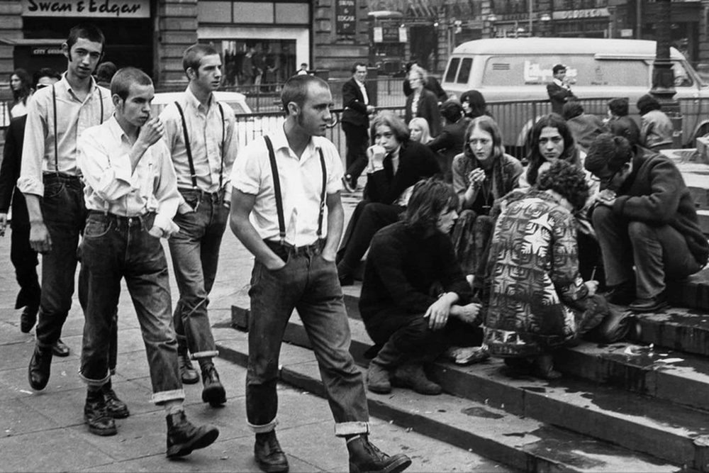 Skinheads at Piccadilly Circus in Doc Martens 1969 Fashion Tours London Personal Styling Personal Shopping